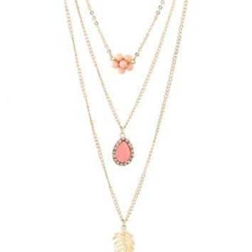 Layered Flower & Leaf Charm Necklace by Charlotte Russe - Gold