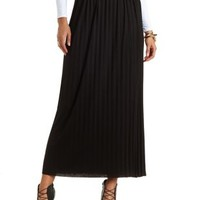 Pleated Jersey Knit Maxi Skirt by Charlotte Russe - Black