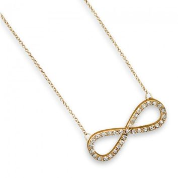 Gold Crystal Infinity Necklace