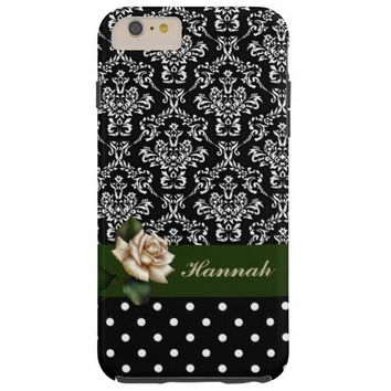 Black and White Damask Dots with Rose iPhone6 Case