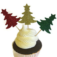 Christmas Tree Cupcake Toppers - Holiday Food Picks - 12 Pack #Christmas #party #cupcake #toppers #holidays