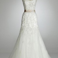 David`s Bridal Wedding Dress: Cap Sleeve Beaded Lace Mermaid Gown Style 123325