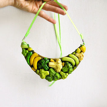 Statement Necklace Happy Vegetables, yellow and green broccoli banana vegetables jewelry, bib chunky necklace, bright vegetarian jewelry