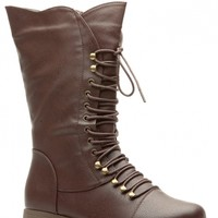 Brown Faux Leather Lace Up Calf Length Combat Boots @ Cicihot Boots Catalog:women's winter boots,leather thigh high boots,black platform knee high boots,over the knee boots,Go Go boots,cowgirl boots,gladiator boots,womens dress boots,skirt boots.