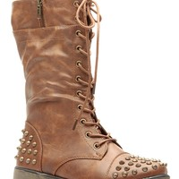Tan Faux Leather Spiked Lace Up Combat Boots @ Cicihot Boots Catalog:women's winter boots,leather thigh high boots,black platform knee high boots,over the knee boots,Go Go boots,cowgirl boots,gladiator boots,womens dress boots,skirt boots.