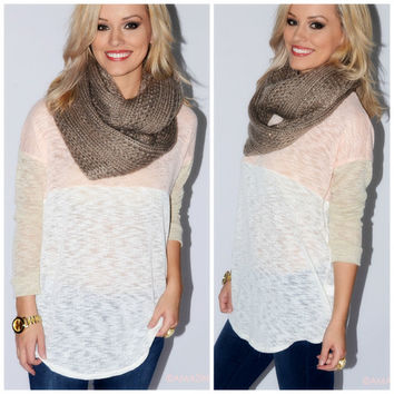 Peach Madness Color Block Knit Top