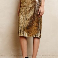 Gilded Leather Pencil Skirt by Raoul Gold
