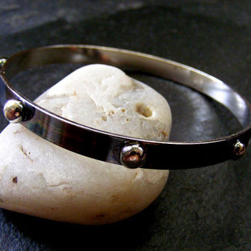 Silver oxidised Bangle with silver balls Black and Silver Bracelet Everyday Silver Bangle