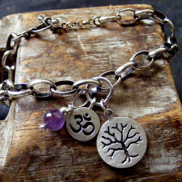 Heavy Silver Charm Bracelet with tree of life, ohm charm and amethyst