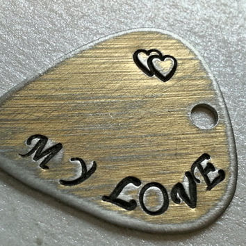 Custom Guitar Pick, Guitar Pick Necklace, Guitar Pick KeyChain, My Love, Gifts for Music Fans