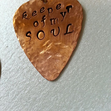 Guitar Pick Necklace, Keeper of My Soul, Mens Guitar Pick Necklace, Gifts for Music Fans