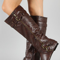 Zipper Buckle Riding Knee High Flat Boot