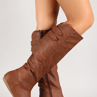 Button Strap Knee High Boot