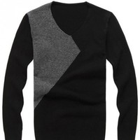Black Long Sleeve V-neck Cotton Blend Men Knitting Sweater M/L/XL@YSPM1209b