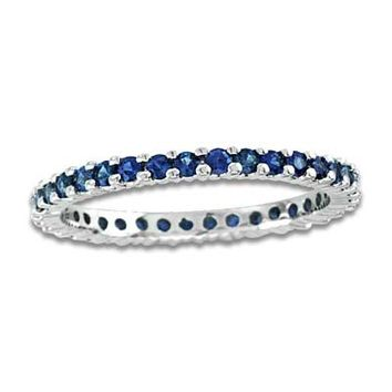 Blue Sapphire Eternity Band in 14K White Gold