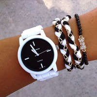 Talaysa Lee Stack - Black & White watch and bracelet stack with bracelet