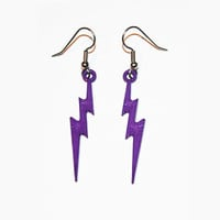Lightning Bolt Earrings, Lightning Jewelry, Thunder Bolt Earrings, Purple Lightning Bolts