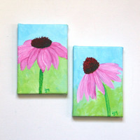 Original Painting, PURPLE CONEFLOWER SET, Two 5x7 Acrylic Canvas, Home Decor, Fall Floral