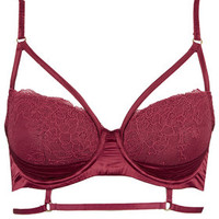 Satin and Lace Harness Bralet - Berry Red
