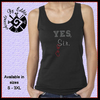Rhinestone YES Sir with HandcuffsT Shirt or Tank in sizes S - 3XL inspired by Fifty Shades