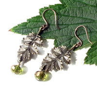 Leaf dangle earrings - green Picasso Czech glass bead