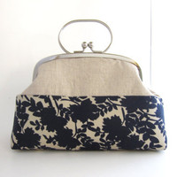 Frame Clutch with Handle- linen patchwork navy flowers