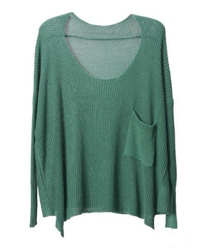 Vintage Bat sleeve Solid sweater-green  style sweater009