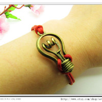 Red  Ropes Steampunk Bracelet Hunger Games Bacelet  adjustable Vintage antique brass UnisexBow and Bulb Bracelet Unisex  Bracelet 595S