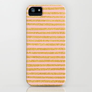 Golden Stripes & Peach iPhone & iPod Case by Sandra Arduini