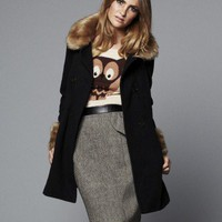 Lipsy Fur Collared Swing Coat