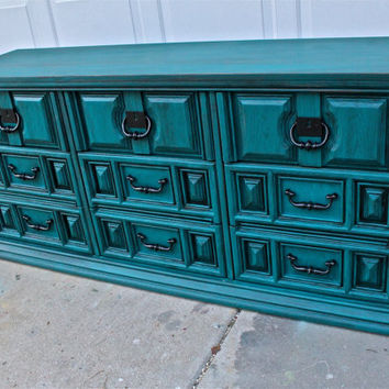 Gypsy Teal Vintage Dresser Bright from AquaXpressions on Etsy