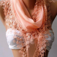 ON SALE Scarf  Cotton - Soft - Elegance Scarf....Salmon pink...Super soft