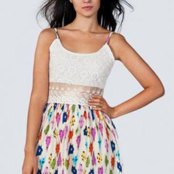 Speckled Print Sleeveless Dress with Floral Crochet Top
