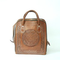vintage tooled leather mexican bowling bag by santokivintage