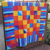 Spliced Squares and Stripes - Modern Patchwork Quilt