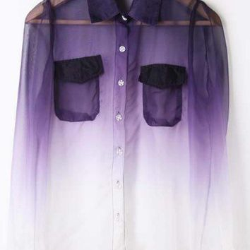 Purple White Gradient Pockets Long Sleeve Sheer Blouse - Sheinside.com