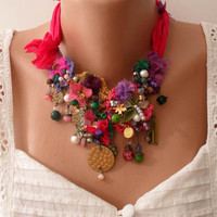 Colorful Necklace - Handmade Design - summer colors -