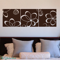 Retro Flower Panels Blocks Tiles Squares Wallpaper Vinyl Wall Art Graphics Decals Stickers 1340