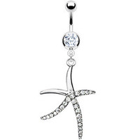 Jeweled Starfish Dangle Belly Ring | Body Candy Body Jewelry
