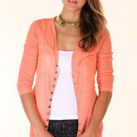 NEON-ORANGE BUTTON DOWN COLORFUL CARDIGAN @ KiwiLook fashion