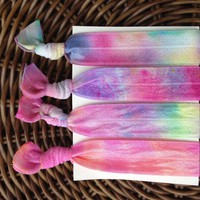 4 Bright Tie Dye Elastic Hair Ties .. on Luulla