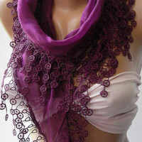 Purple - Elegance Shawl / Scarf with Lace Edge