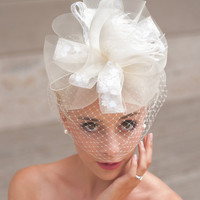 Ivory Bow Style Bridal Birdcage Fascinator in Ivory Horsehair, Feathers and Floral Ribbon - The TIFFANY Fascinator