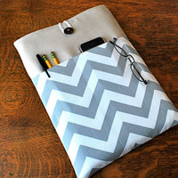 13 inch laptop Macbook Mac book Pro or Macbook Air Cover Padded Case Sleeve - Linen with Grey White Chevron Zig ZagFabric Pocket