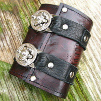 Leather Steampunk Credit Card Wristband Wallet for Women and Men - Antique Mahogany