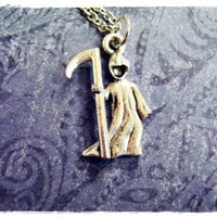 Tiny Grim Reaper 3D Charm Necklace in Antique Pewter with a Delicate 18 Inch Silver Plated Cable Chain