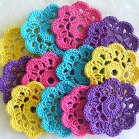 Handmade Flower Mini Doilies, Appli.. on Luulla