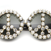 Sienna Peace Sign Rhinestone Round Sunglasses (Crystal/Black)