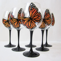 Monarch Butterfly - 6 hand painted wine glasses  - butterflies - large glasses 20 oz