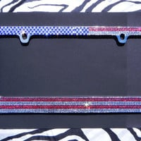 Sparkly USA Flag Patriotic Rhinestone Bling Car License Plate Frame